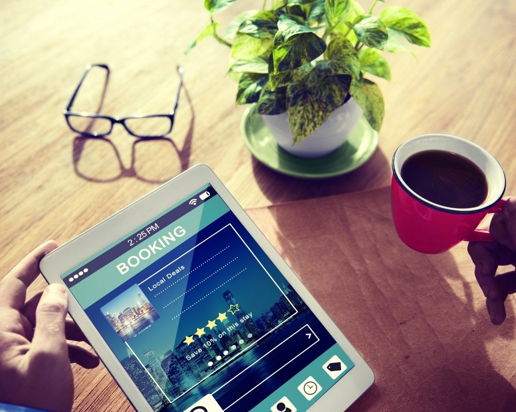 hotel booking reservation on tablet