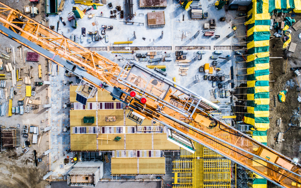 Bird's eye view of construction site