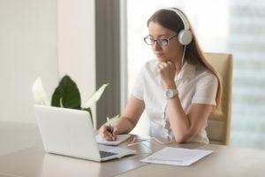 woman having a virtual meeting