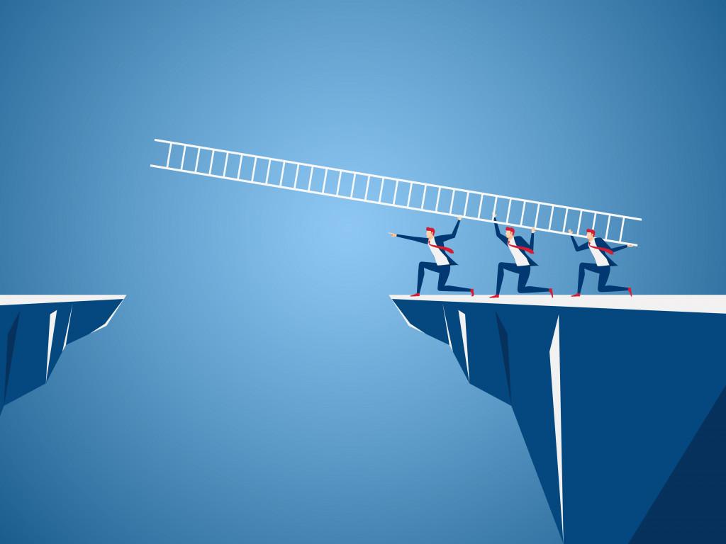 three men attempting to cross a gap using a ladder