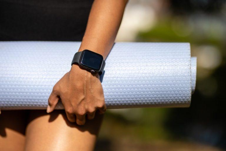 wearing a smartwatch